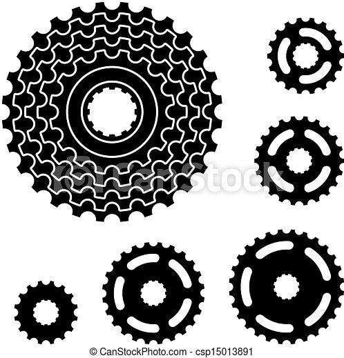 Los símbolos de los engranajes de bicicletas - csp15013891