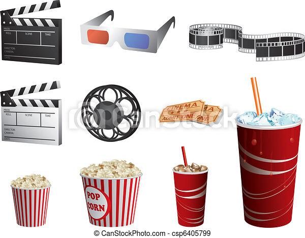 Los símbolos del cine están aislados en blanco - csp6405799