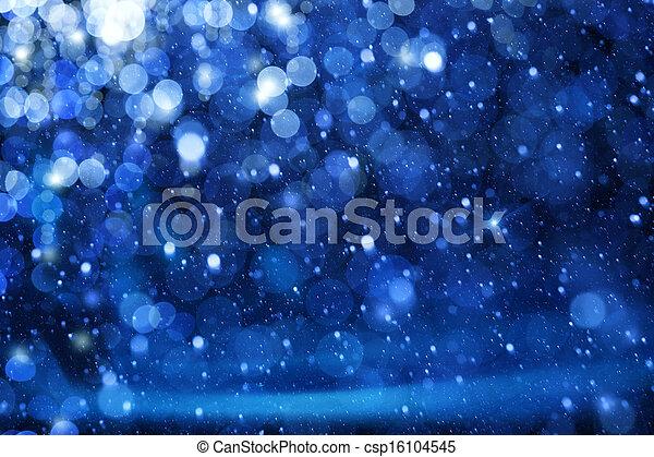 Luces de Navidad de arte en el fondo azul - csp16104545