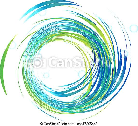 Ondas azules con logo de luces brillantes - csp17295449