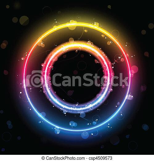 Luces de arco iris alfabeto en el botón del círculo - csp4509573