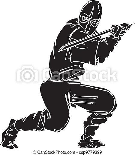 Un caza ninja, ilustración de vector. Ya está. - csp9779399