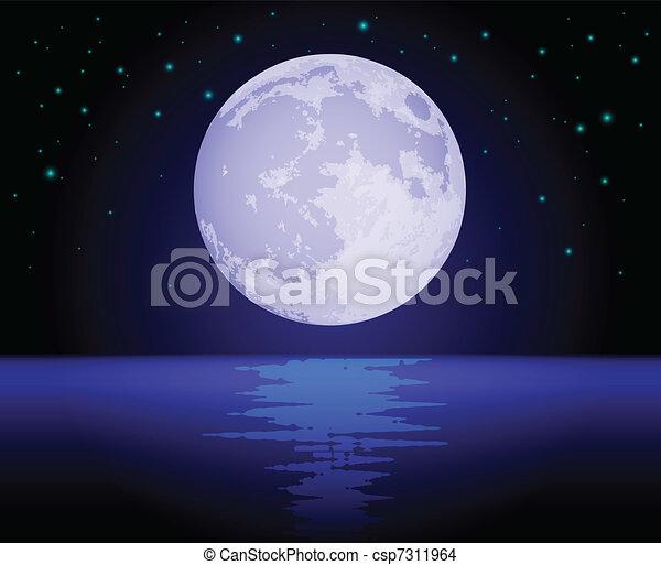 Luna reflejada sobre el océano - csp7311964