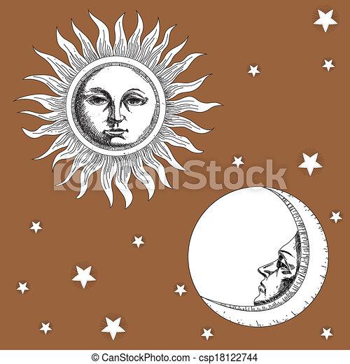 Luna solar y estrellas - csp18122744