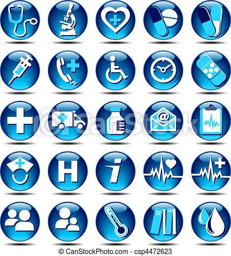 Los iconos de la salud brillan - csp4472623