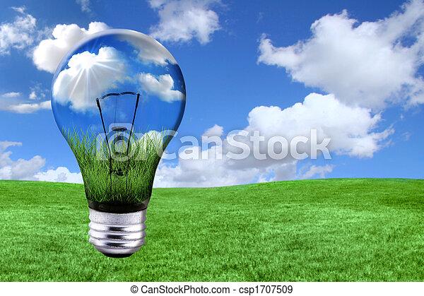 Soluciones de energía verde con bombillas convertidas en paisaje - csp1707509