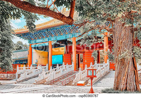 más grande, templo, beijing, china., confucius, confuciano, segundo - csp80369787