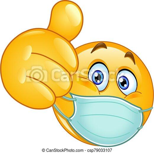 médico, pulgar up, máscara, emoticon - csp79033107
