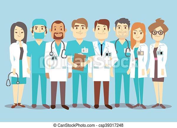 Médicos del equipo médico del hospital enfermeras cirujano vector de ilustración plana - csp39317248