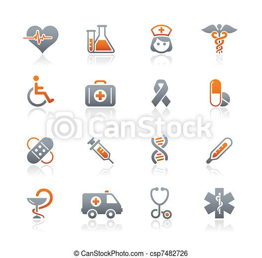 Médicos e iconos de cuidados de la muerte - csp7482726