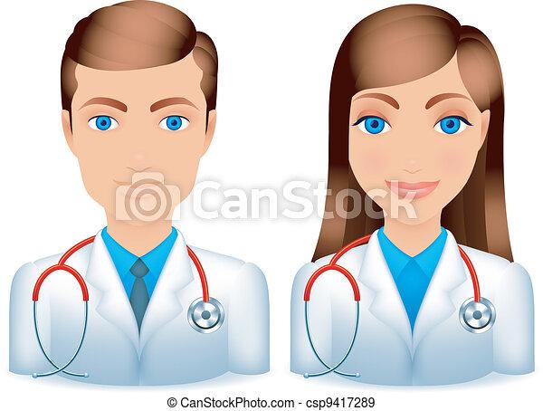 Médicos masculinos y femeninos. - csp9417289
