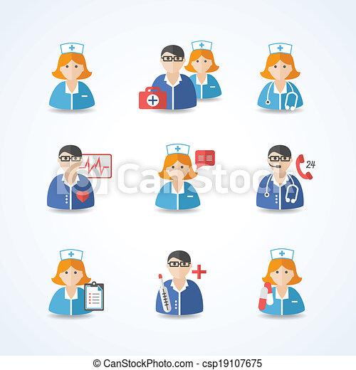 Médicos y enfermeras listos - csp19107675