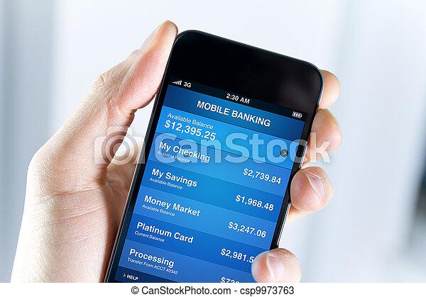 Banco móvil en el teléfono inteligente - csp9973763