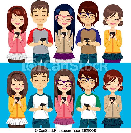 Gente usando teléfonos móviles - csp18929008
