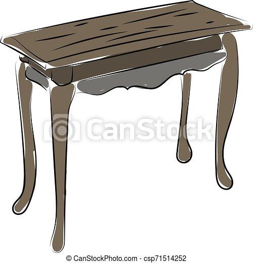 Dibujo de mesa de madera, ilustración, vector de fondo blanco - csp71514252