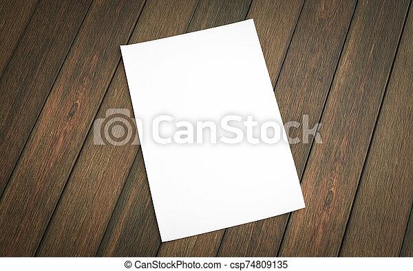 madera, reemplazar, diseño, 3d, ilustración, render, vacío, aislado, hoja, blanco, plano de fondo, su - csp74809135
