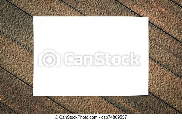 madera, reemplazar, diseño, 3d, ilustración, render, vacío, aislado, horicontal, hoja, blanco, plano de fondo, su - csp74809537
