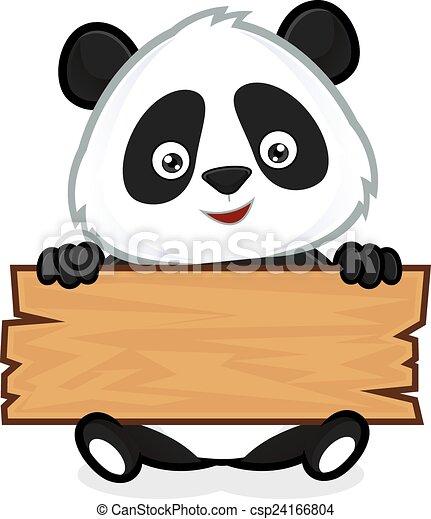 Panda sosteniendo una tabla de madera - csp24166804