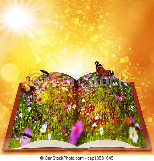 Cuentos de hadas de un libro mágico. Extractos antecedentes de fantasía con hermoso bokeh - csp10581645