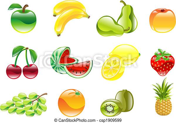 Hermoso y brillante icono de frutas - csp1909599