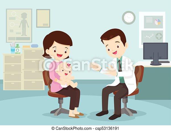 Mamá llevó a su bebé a ver al médico - csp53136191