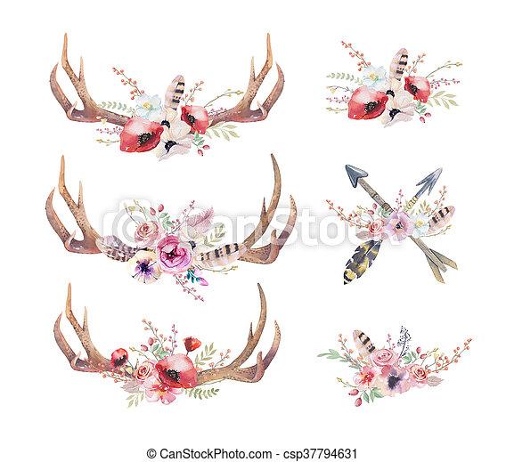 Cuernos de ciervo acuarela. Mamíferos occidentales. La cadera de acuarela - csp37794631