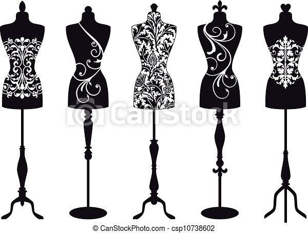 Maniquís de moda, vectores - csp10738602