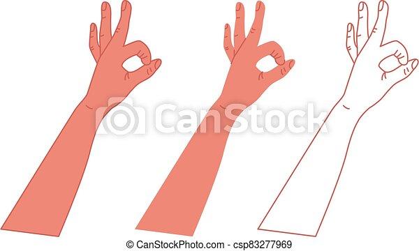 mano., ilustración, vector, aprobar, blanco, símbolo, fondo. - csp83277969