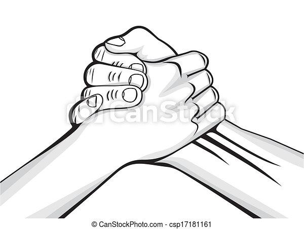 Manos apretadas dos manos masculinas - csp17181161