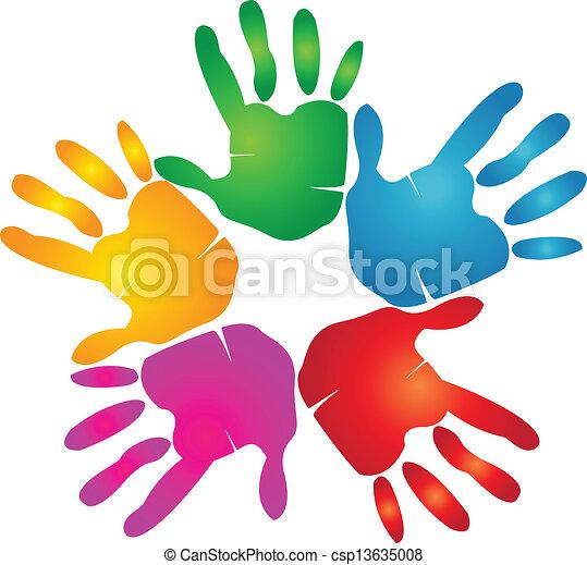 Manos impresas en colores vívidos - csp13635008