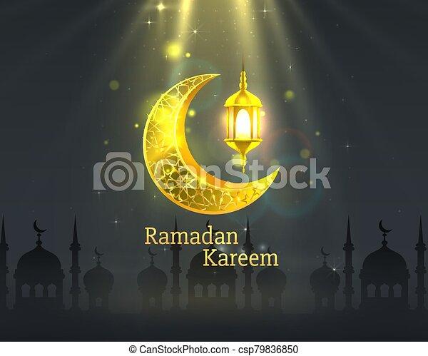 manuscrito, noche, cubierta, arch., dibujado, fondo., saludo, mezquita, diseño, tarjeta, card., vista, ramadan, árabe - csp79836850