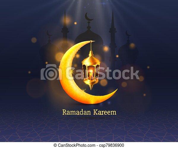 manuscrito, noche, cubierta, arch., dibujado, fondo., saludo, mezquita, diseño, tarjeta, card., vista, ramadan, árabe - csp79836900