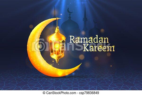 manuscrito, noche, cubierta, arch., dibujado, fondo., saludo, mezquita, diseño, tarjeta, card., vista, ramadan, árabe - csp79836849