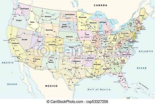 Nosotros carretera interestatal y mapa administrativo - csp53327256