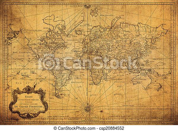 Mapa antigua del mundo 1778 - csp20884552