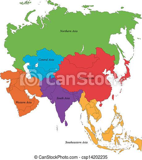 El mapa de Asia - csp14202235