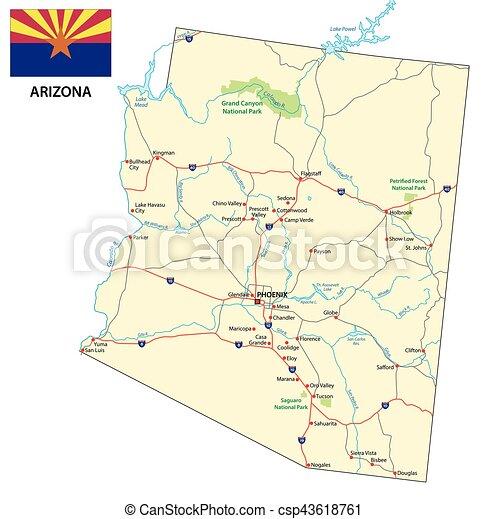 Mapa de carretera de Arizona con bandera - csp43618761