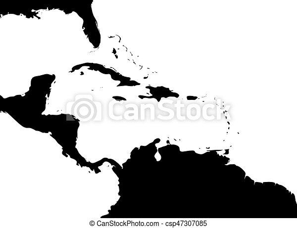 Mapa de región caribeña y América Central. Silueta de tierra negra y agua blanca. Simple ilustración del vector plano - csp47307085