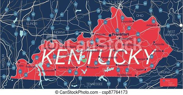 mapa, editable, estado, detallado, kentucky - csp87764173