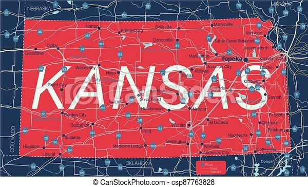 mapa, editable, kanzas, estado, detallado - csp87763828