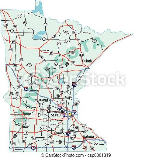 El mapa del estado de Minnesota - csp6001319