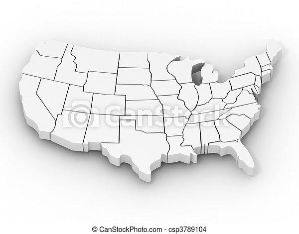 Mapa de EE.UU - csp3789104