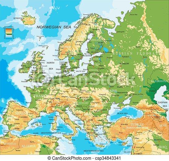 Europa, mapa físico - csp34843341