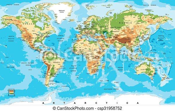 El mapa físico del mundo - csp31958752