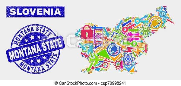 Herramientas de collage slovenia mapa y grunge Montana sello estatal - csp70998241