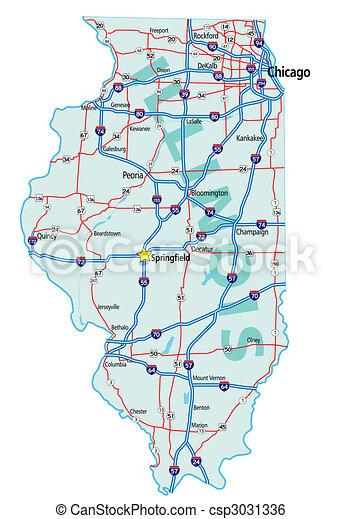 Un mapa del estado de Illinois - csp3031336