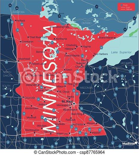 mapa, minnesota, editable, estado, detallado - csp87765964