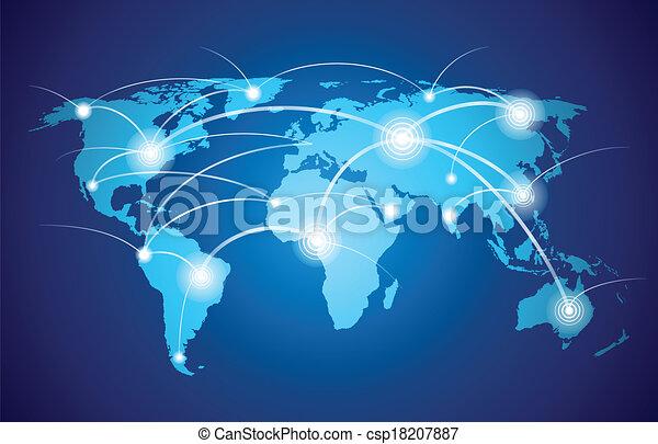 Mapa mundial con red global - csp18207887