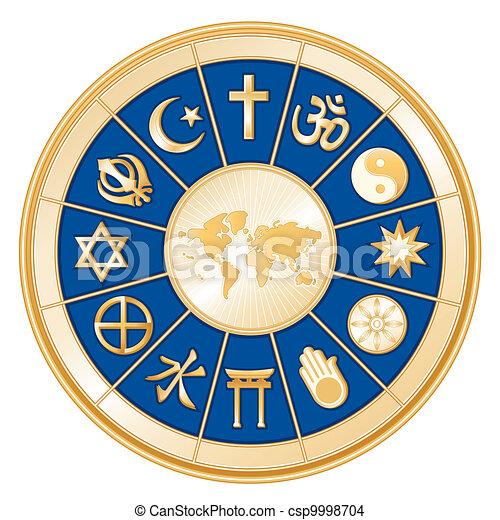 mapa mundial, religiones mundiales - csp9998704