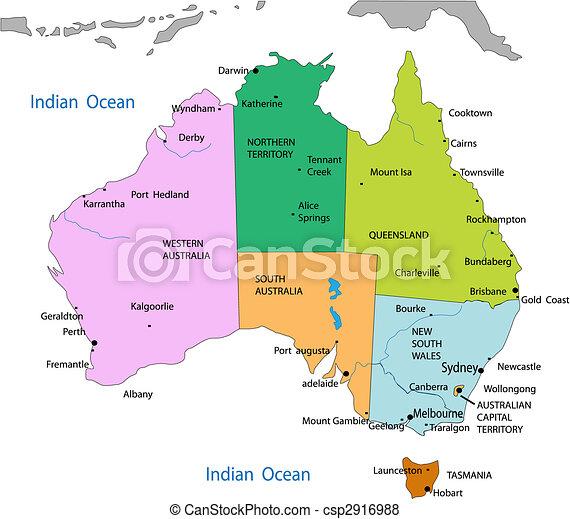 Mapa política de australia - csp2916988